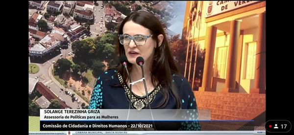 audiência pública híbrida, na Câmara de Vereadores de Santa Rosa, para tratar do feminicídio e violência doméstica naquele município. A proposição é do presidente do órgão técnico.